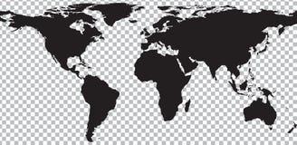 Black map of world on transparent background Stock Photo