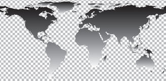 Black map of world on transparent background Stock Photos