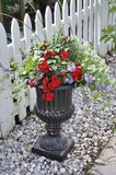 Black Marble Jardiniere with Beautiful Flowers Arrangement from Downtown of Niagara-on-the-Lake in Ontario province. Of Canada on 25th June 2017 Royalty Free Stock Photos
