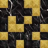 Black and gold glitter marble 3d geometric seamless pattern. Black marble with volume geometric effect and gold glitter repeat tile. Luxury seamless pattern with stock illustration