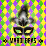 Black Mardi Gras mask with feathers on grid Royalty Free Stock Photos