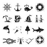 Black marine icons Stock Photos