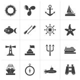Black Marine and sea icons. Vector icon set Stock Photos