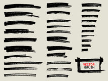 Black marker brush stroke set royalty free illustration