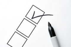 Black Marker with Checkbox and Check Royalty Free Stock Image