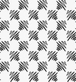 Black marker drawn hatched zigzag squares. Hand drawn with paint brush seamless background. Abstract texture. Modern irregular tilable design royalty free illustration