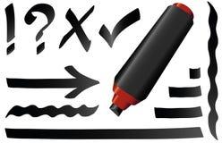 Black Marker Pen Black Strokes Symbols Stock Image