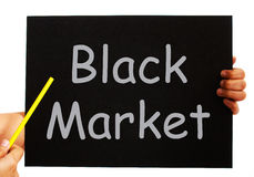 Black Market Blackboard Means Illegal Buying Royalty Free Stock Photography
