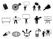 Black marketing icons set. For business marketing design Stock Photography