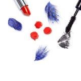 Black mascara and bright orange lipstick Royalty Free Stock Photos