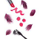Black mascara and bright red lipstick Royalty Free Stock Photography