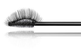 Black mascara brush and false eyelashes close-up Stock Image