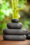 Black massage stones Stock Photography