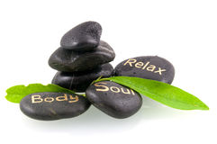 Black massage stones with green leaves. Isolated on white background Stock Images