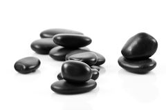 Black massage stones stacked Stock Images