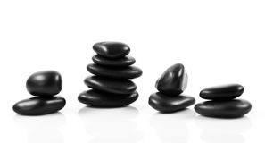 Black massage stones stacked Stock Image