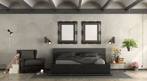 Black master bederoom Stock Images