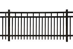 Black Metal Fence section. Black metal fence isolated on white Stock Photos