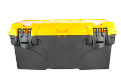 Black mechanic tool box. On a white background stock images