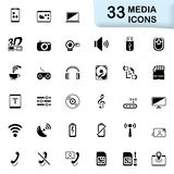 33 black media icons. Media icons for mobile phone interface and web. Size vector icon: 32x32 px Royalty Free Stock Photos