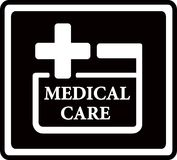 Black medical care icon Royalty Free Stock Image