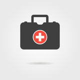 Black medical case with shadow. Concept of ambulance, family physician, therapist, gp, internist, healthcare.  on grey background. flat style trendy modern Stock Image