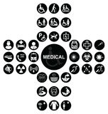 Black Medical and health care Icon collection Stock Photo