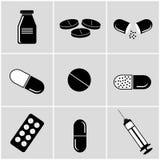 Black medical icons on grey background. Set of black medical icons on grey background Royalty Free Stock Image