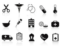 Black medical icons set Royalty Free Stock Images