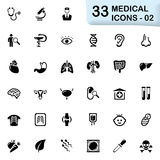 33 black medical icons 02. This set contains 33 icons that can be used for designing and developing websites, apps, as well as printed materials and Royalty Free Stock Photography