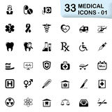33 black medical icons 01 Royalty Free Stock Photography