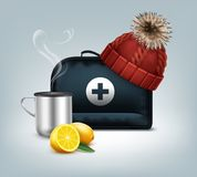 Black medicine chest. Vector first aid kit box with knitted red cap with pom-pom, hot thermo cup, steam and lemon isolated on background Royalty Free Stock Photos