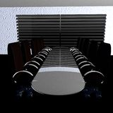 Black meeting room. In perspective, 3d render Stock Photo