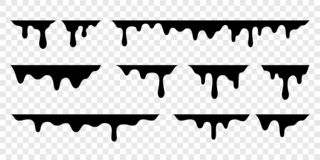 Black melt drips or liquid vector paint drops. Black melt drips or liquid paint drops. Vector graffiti splatter splash or chocolate syrup and oil leak borders vector illustration