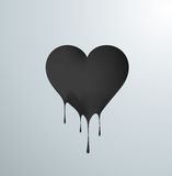 Black melting heart with drops. Stock Photo