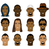 Black Men Faces. Vector Illustration of 12 different Black and Mixed Men Faces Royalty Free Stock Photos