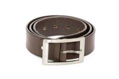 Black men leather belt isolated on white Royalty Free Stock Photos
