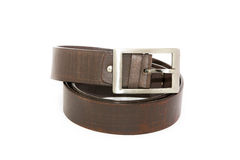 Black men leather belt isolated on white Royalty Free Stock Photos
