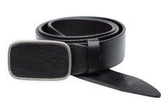 Black men leather belt isolated on white Royalty Free Stock Photography