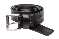 Black men leather belt isolated on white Stock Photos