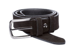Black men leather belt isolated on white Stock Photography