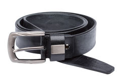 Black men leather belt isolated on white Royalty Free Stock Images