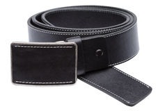 Black men leather belt isolated on white Stock Photos