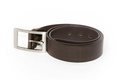 Black men leather belt  on white Stock Photos