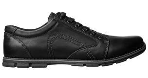 Black men shoe side view. Black men leather shoe on a white background. Side view of men shoe Royalty Free Stock Photos