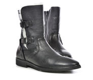 Black men leather shoes for spring season with fur Stock Photos