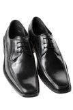 Black men's dress shoes. Isolated Royalty Free Stock Images
