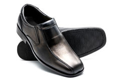Black men's leather shoe Stock Image