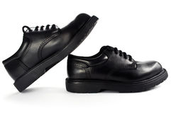 Black men's leather shoes. Royalty Free Stock Photos