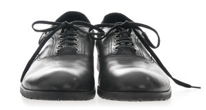 Black Men's leather shoes stock photography